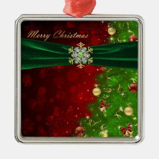 Luces y copos de nieve del árbol de navidad del ce adorno