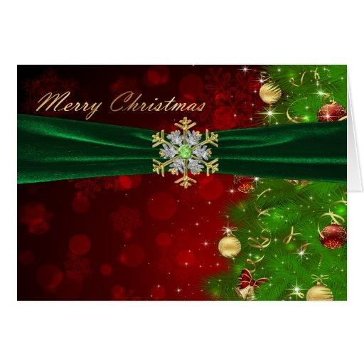 Luces y copos de nieve del árbol de navidad del ce felicitaciones