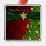 Luces y copos de nieve del árbol de navidad del adorno
