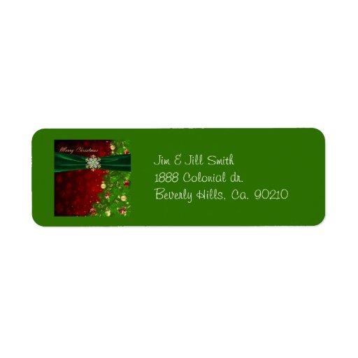 Luces y copos de nieve del árbol de navidad del etiquetas de remite