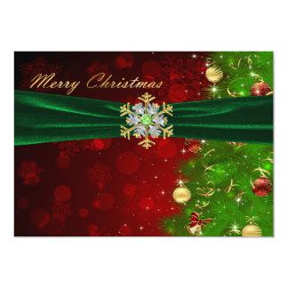 """Luces y copos de nieve del árbol de navidad del invitación 5"""" x 7"""""""