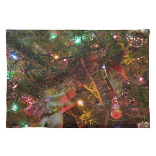 Luces y ornamentos de navidad mantel individual