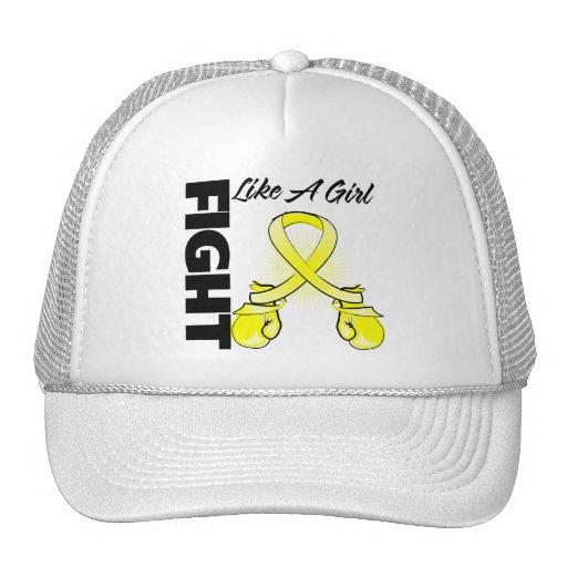 Lucha amarilla de la cinta como un chica gorras