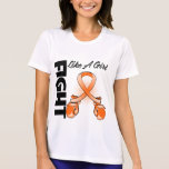 Lucha anaranjada de la cinta como un chica camisetas