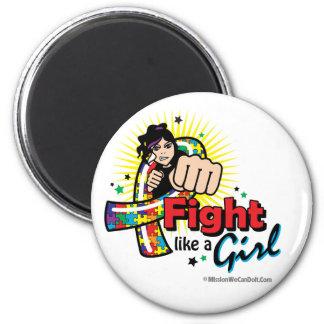Lucha animada como un autismo del chica imán redondo 5 cm
