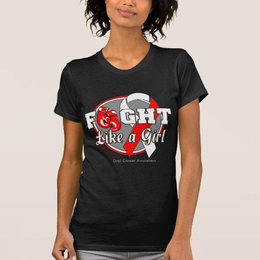 Lucha como guantes de un chica - cáncer oral camiseta