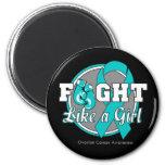 Lucha como guantes de un chica - cáncer ovárico imán de frigorifico