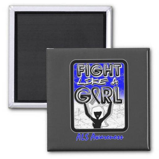 Lucha como un ALS de la muestra del lema del chica Imán Cuadrado