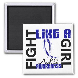 Lucha como un ALS del chica 3,3 Imán Cuadrado