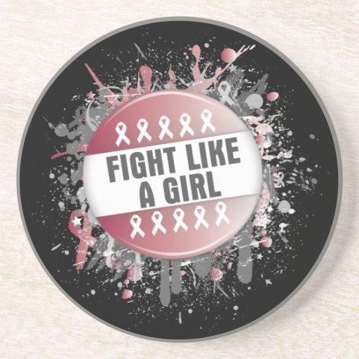 Lucha como un botón fresco del chica - cáncer prin posavasos cerveza