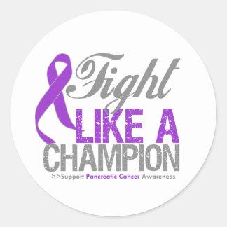 Lucha como un campeón - cáncer pancreático etiquetas redondas