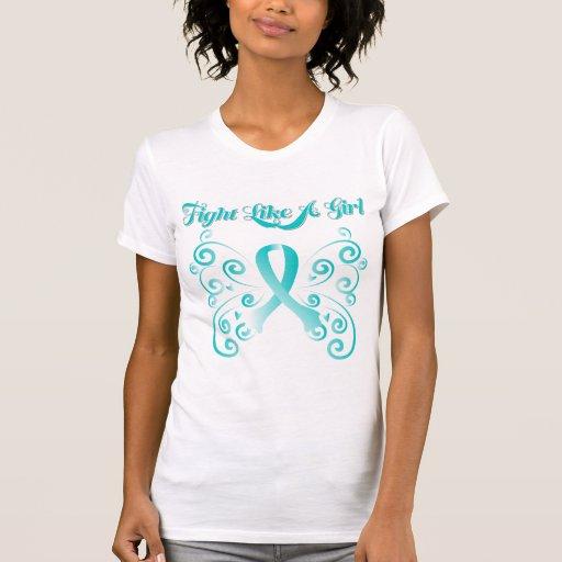 Lucha como un cáncer de cuello del útero elegante camiseta