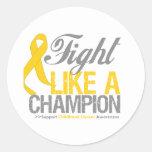 Lucha como un cáncer de la niñez del campeón pegatina redonda