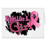 Lucha como un cáncer de pecho del chica 17,8 tarjetón