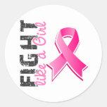 Lucha como un cáncer de pecho del chica 28,8 pegatinas