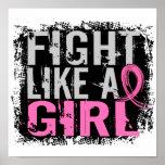 Lucha como un cáncer de pecho del chica 31,8 posters