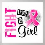 Lucha como un cáncer de pecho del chica 36,8 poster
