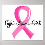 Lucha como un cáncer de pecho del chica 41,8 poster