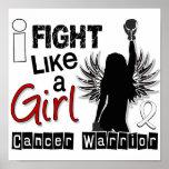 Lucha como un cáncer de pulmón del chica 26,2 poster