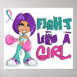 Lucha como un cáncer de tiroides del chica 42.8.pn posters