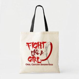 Lucha como un cáncer oral del chica 5,3 bolsa tela barata