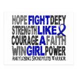 Lucha como un chica Ankylosing Spondylitis 23,4 Tarjeta Postal