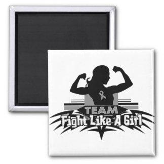 Lucha como un chica - cáncer del equipo de cerebro iman de frigorífico
