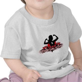 Lucha como un chica - cáncer del equipo de hueso camisetas