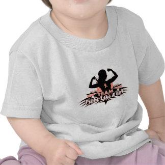 Lucha como un chica - cáncer uterino del equipo camisetas