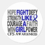 Lucha como un chica CFS 23,3 Etiquetas Redondas