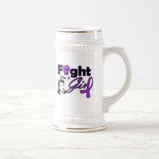 Lucha como un chica - chica retro del Fibromyalgia Taza De Café