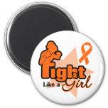 Lucha como un chica - esclerosis múltiple iman de frigorífico