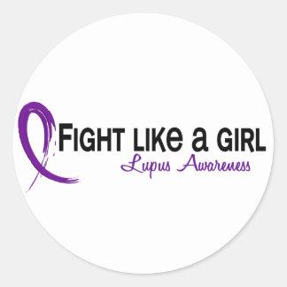 Lucha como un lupus del chica 6,3 etiqueta redonda