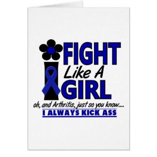 Lucha como una artritis del chica 1,2 tarjeta de felicitación