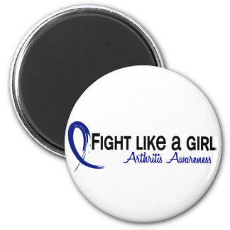 Lucha como una artritis del chica 6,3 imán redondo 5 cm
