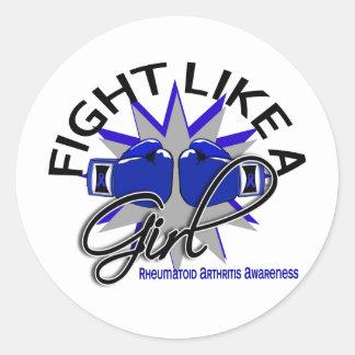 Lucha como una artritis reumatoide 12 3 del chica pegatinas redondas