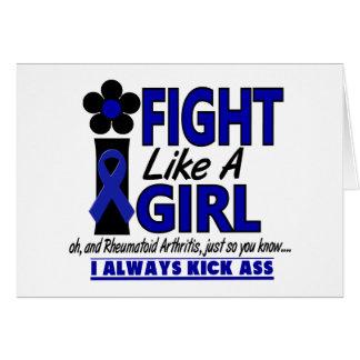 Lucha como una artritis reumatoide del chica 1,2 tarjeta de felicitación