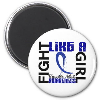 Lucha como una artritis reumatoide del chica 3,3 imán redondo 5 cm