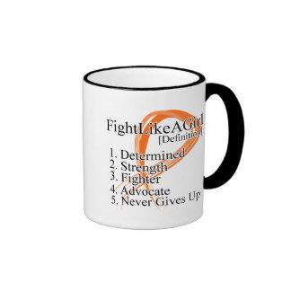 Lucha como una definición del chica - cáncer 2 del tazas de café