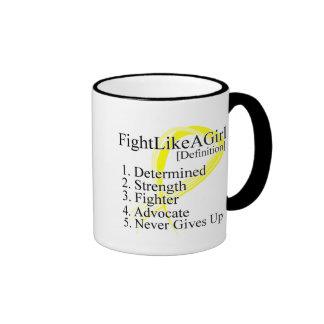 Lucha como una definición del chica - cáncer de ve tazas de café