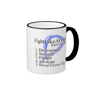Lucha como una definición del chica - cáncer del e tazas de café
