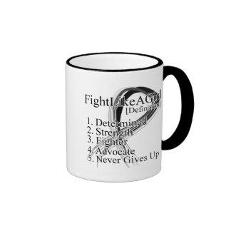 Lucha como una definición del chica - melanoma tazas de café