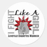 Lucha como una diabetes juvenil 8,2 del chica pegatinas redondas