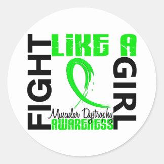 Lucha como una distrofia muscular del chica 3,3 pegatina redonda