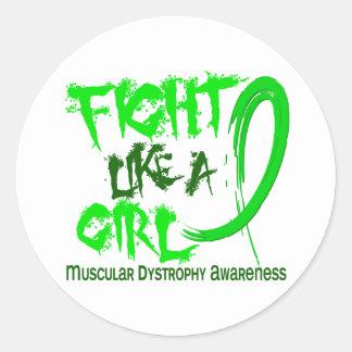 Lucha como una distrofia muscular del chica 5,3 pegatina redonda
