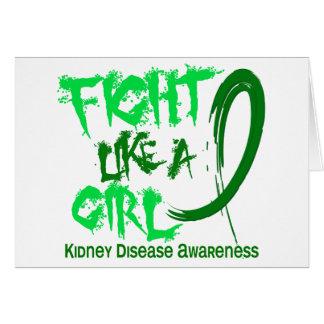 Lucha como una enfermedad de riñón del chica 5,3 tarjeta de felicitación