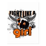 Lucha como una leucemia 33,8 del chica tarjetas postales