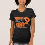 Lucha como una leucemia apenada chica camiseta