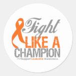 Lucha como una leucemia del campeón etiqueta redonda