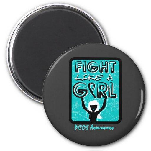 Lucha como una muestra PCOS del lema del chica Imán De Frigorífico